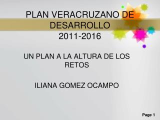 PLAN VERACRUZANO DE DESARROLLO 2011-2016