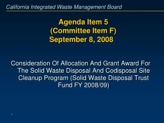 Agenda Item 5  (Committee Item F)  September 8, 2008