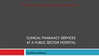 Clinical Pharmacy Services  at a public sector hospital
