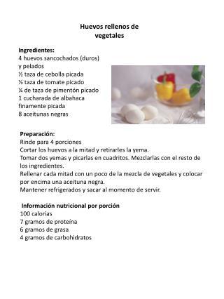 Huevos rellenos de vegetales