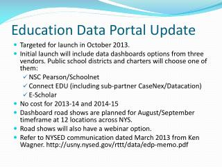 Education Data Portal Update