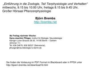 """""""Einführung in die Zoologie, Teil Tierphysiologie und Verhalten"""""""