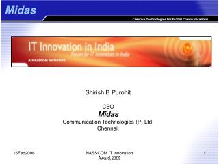 Shirish B Purohit CEO Midas Communication Technologies (P) Ltd. Chennai.