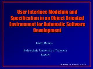 Isidro Ramos Polytechnic University of Valencia -SPAIN-