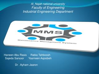 Al_Najah national university Faculty of Engineering Industrial Engineering Department