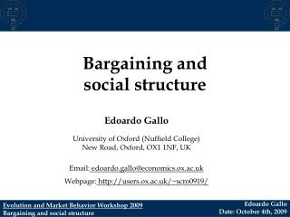 Bargaining and  social structure