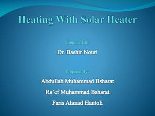 Heating With Solar Heater