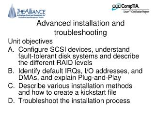 Advanced installation and troubleshooting