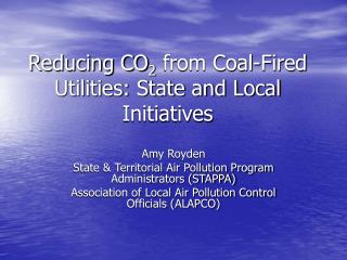 Reducing CO 2  from Coal-Fired Utilities: State and Local Initiatives