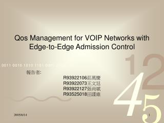 Qos Management for VOIP Networks with Edge-to-Edge Admission Control
