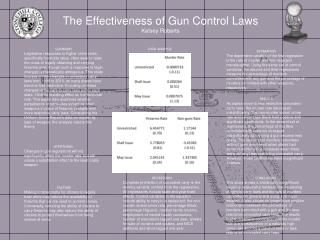 The Effectiveness of Gun Control Laws Kelsey Roberts
