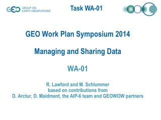 Key 2014 Outputs - Managing and Sharing Data