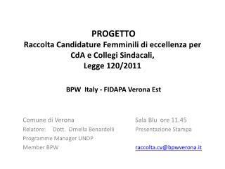 Comune di  Verona  Sala Blu   ore 11.45
