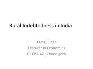 Rural Indebtedness in India