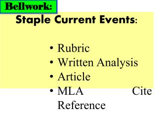 Staple Current Events: Rubric Written Analysis Article MLA Cite Reference