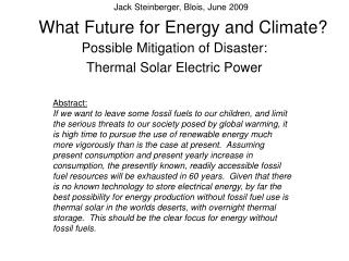 What Future for Energy and Climate
