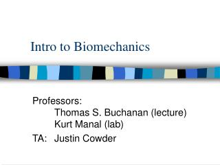 Intro to Biomechanics