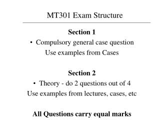 Section 1 Compulsory general case question Use examples from Cases Section 2
