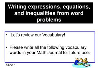 Writing expressions, equations, and inequalities from word problems