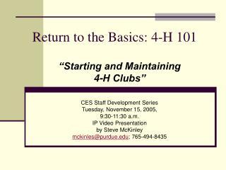 Return to the Basics: 4-H 101