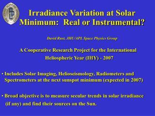 Irradiance Variation at Solar Minimum:  Real or Instrumental?
