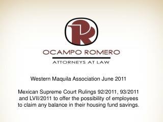 Western Maquila Association June 2011