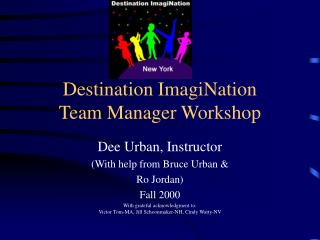 Destination ImagiNation Team Manager Workshop
