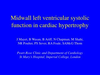 Midwall left ventricular systolic function in cardiac hypertrophy