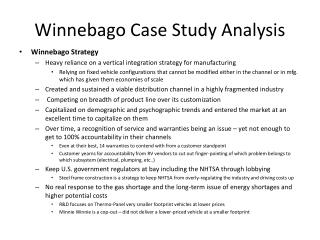 Winnebago Case Study Analysis