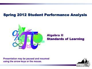Spring 2012 Student Performance  Analysis