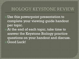 BIOLOGY KEYSTONE REVIEW