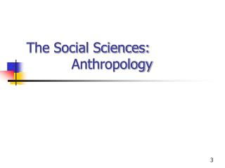 The Social Sciences:  Anthropology