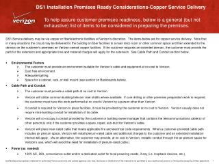 DS1 Installation Premises Ready Considerations-Copper Service Delivery