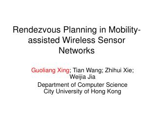 Rendezvous Planning in Mobility-assisted Wireless Sensor Networks