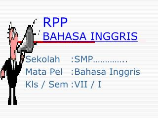 RPP BAHASA INGGRIS