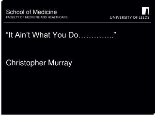 """It Ain't What You Do………….."" Christopher Murray"
