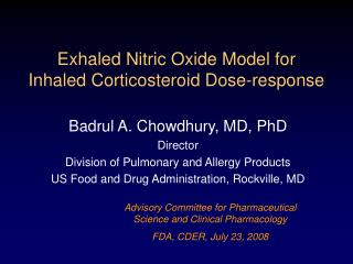Exhaled Nitric Oxide Model for  Inhaled Corticosteroid Dose-response