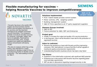 Flexible manufacturing for vaccines –  helping Novartis Vaccines to improve competitiveness