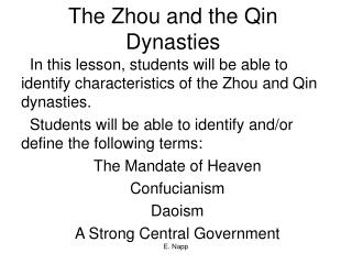 The Zhou and the Qin Dynasties