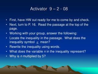 Activator  9 – 2 - 08