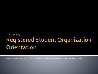 Registered Student Organization Orientation