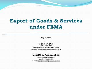 Export of Goods  Services under FEMA
