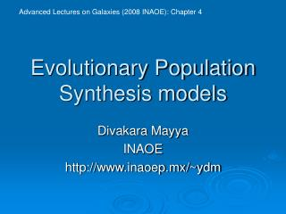 Evolutionary Population Synthesis models