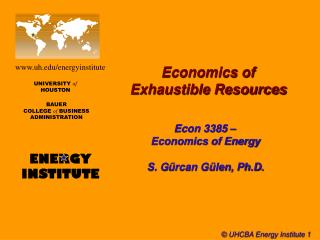 Economics of  Exhaustible Resources