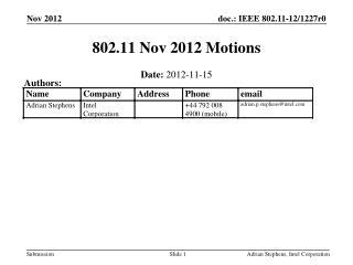 802.11 Nov 2012 Motions