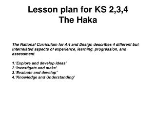 Lesson plan for KS 2,3,4 The Haka