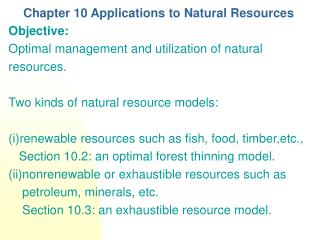 Chapter 10 Applications to Natural Resources