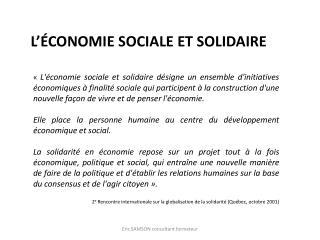 L��conomie sociale et solidaire