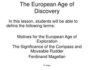 The European Age of Discovery