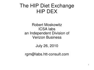 The HIP Diet Exchange HIP DEX
